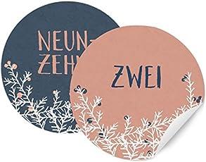 24 Adventskalenderzahlen für Mädchen & Frauen, runde Zahlen Etiketten MATT zum Adventskalender Basteln, selbstklebend, 40mm, ROSA BLAU mit Zweigen und Beeren
