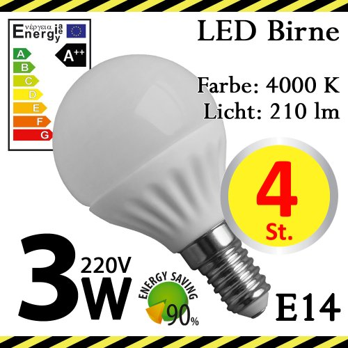 4-er Pack ALMIPEX E14 LED Lampe Birne 3W (210lm - 4500 K - Weiß - 6 x SMD - 270º Abstrahlwinkel - E14 Sockel - 230V AC - 3 Watt - Ø 45×78 mm)