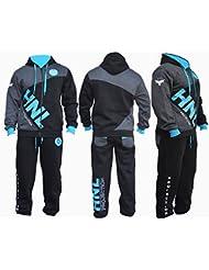 Para hombre Negro y Azul Traje de Jogging Pantalón De Chándal Pantalón De Pantalones de forro polar con capucha, negro, mediano