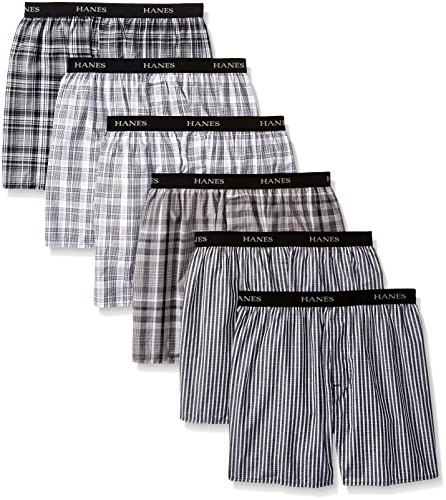 Hanes Men's 6-Pack Classics Exposed Waistband Boxer Bonus Pack, Black/Blue, Medium (Classics Boxer Mens Hanes)