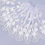 Hongma 3 Yard Spitzenstoff Milch Seide mit Myosotis Stickrei für Brautkleid Damen DIY Breite 35cm