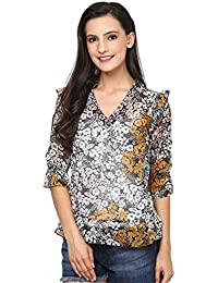 The Gud Look Women's Ruffle Collor Flower Print Top