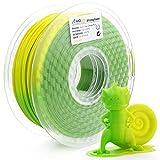 AMOLEN Imprimante 3D Filament PLA 1.75mm, Changement de Couleur de température, Vert à Jaune 1KG,+/- 0.03 mm, Comprend des échantillons de Filaments Changement de Couleur UV à Rose.