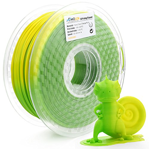 AMOLEN Filamento PLA Impresora 3D 1.75mm, Cambio de color de temperatura, Verde a Amarillo 1KG,+/- 0.03mm, incluye Cambio de color UV a Rosa Filamento Muestra.