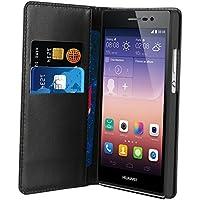 Muvit MUSNS0069 - Funda slim folio con función soporte y tarjetero para Huawei P7, negro