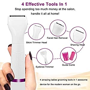 Facial Hair Remover for Women,Flawless USB Rechargeable and Painless Face Hair Trimmer,Portable 4 in 1 Electric Razor,Waterproof Ladies Electric Shaver for Peach Fuzz/Facial Hair/Lip/Chin