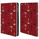 Head Case Designs Dunkel Blaue Und Weisse Anker Marine Muster Brieftasche Handyhülle aus Leder für Apple iPad Mini 1/2 / 3