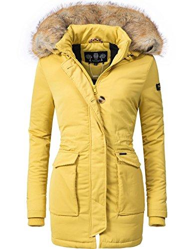 021f5ef7c84f Navahoo Damen Winter-Jacke Winter-Mantel Schneeengel (vegan hergestellt)  Gelb Gr. Edler Style  Damen Winter Parka ...