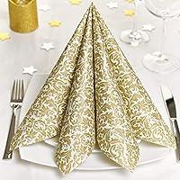 GRUBly servilletas de Papel Oro | Material Similar | Decoración de la Mesa Bodas, cumpleaños, Celebraciones, Navidad | 40x40cm | AIRLAID Calidad | Paquete de 50