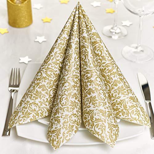 GRUBly Servietten Gold | Stoffähnlich [50 Stück] | Hochwertige goldene Tischdekoration für Weihnachten, Hochzeit, Geburtstag, Feiern | 40x40cm | AIRLAID QUALITÄT
