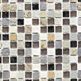 Mosaik Fliese Transluzent beige braun grau schwarz Glasmosaik Crystal Stein für BODEN WAND BAD WC DUSCHE KÜCHE FLIESENSPIEGEL THEKENVERKLEIDUNG BADEWANNENVERKLEIDUNG Mosaikmatte Mosaikplatte