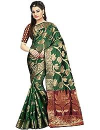 Silk Zone Women's Banarasi Silk Green Silk Saree With Blouse Piece(SILKZ00132_Green_Free Size)