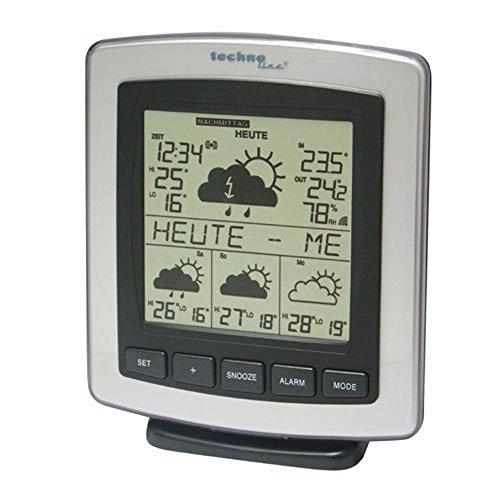 Technoline WD 4204 satellitengestützte Wetterstation mit Innen- undAußentemperaturanzeige, Sturmwarnug, zuverlässige Wettervorhersage für 4 Tage, inklusive Außensender TX TX35-DTH-IT, Übertragungsfrequenz 868 MHz, silber-schwarz, 6,4 x 13,5 x 16,2 cm
