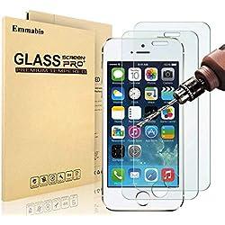 [3 Pièces] Verre Trempé iPhone 5 5s SE, MaxTeck Film Protection en Verre trempé écran Protecteur Vitre- ANTI RAYURES -Ultra Résistant Dureté 9H Glass Screen Protector pour iPhone 5 5s SE