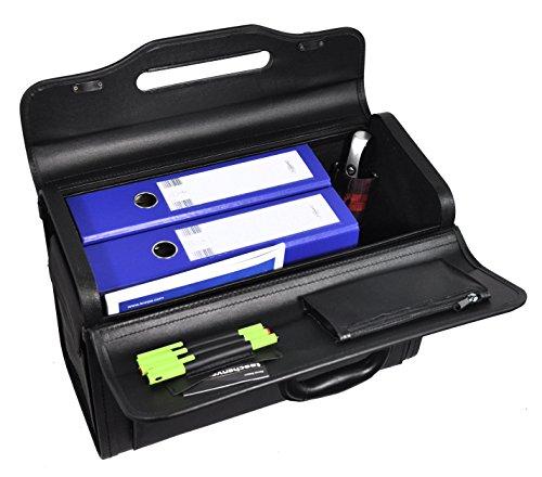 Pilotenkoffer mit abschliessbarer Vortasche, zwei Seitentaschen, 2 Zahlenschlösser Kunstleder Handgepäckgröße