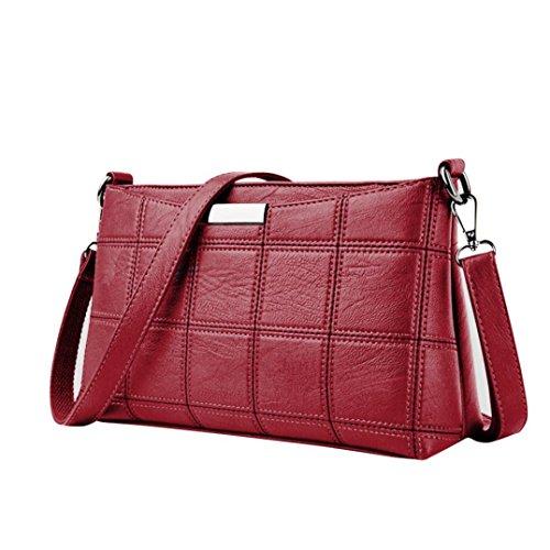 be763e77a3e70 QinMM Frauen Handtasche Leder Plaid Messenger bag Schulter Kleine  Quadratische Paket Umhängetasche Schwarz Grau Rosa Rot