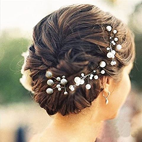Musuntas 6 pcs. Pearl Rhinestone Wedding Bridal Jewelry bridal hair accessories rhinestone hair clip by Musuntas