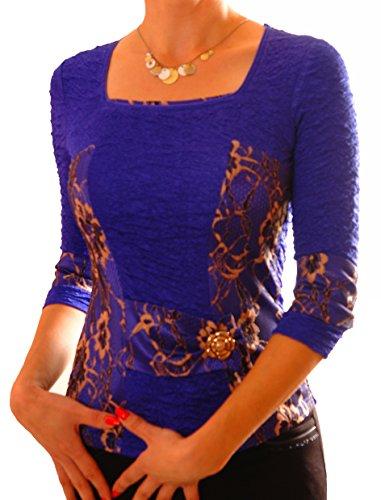 PoshTops Korsett Stil Damen Bluse mit Carré-Ausschnitt Dehnbares Strukturiertem Material Damenshirt 3/4 Ärmel Größen S – XXXL Abendkleidung Freizeitkleidung Plus Size Kleidung (Königsblau, S / 36/38) (Size Strickjacke Plus Seide)