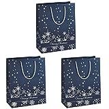 Sigel GT110 Lot de 3 sacs cadeaux Noël, 33 x 26 cm, bleu nuit et argent