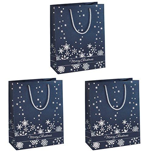 (Sigel GT110 große Premium Papier-Geschenktüten, 26 x 33 cm, 3er Set, mit Silberprägung, für Weihnachten - weitere Größen)
