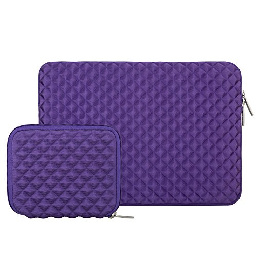 MOSISO Sleeve Hülle für 13-13,3 Zoll MacBook Air, MacBook Pro, Notebook Computer mit Kleinen Fall, Universal Schutzhülle wasserresistente Lycra stoßfest Rautenmuster / Diamant-Muster Schaumpolsterung Schutztasche Laptophülle Tasche Laptoptasche Notebooktasche, Lila (Lila Notebooktasche Macbook Pro 13)