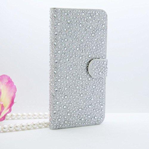 iPhone 6Plus/6S Plus Schutzhülle, by jabit Regentropfen Diamant Fällen-Kristall Bling Strass Wallet PU Leder Schutzhülle Hard Case Cover SCHUTZHÜLLE 5Farben, Silber