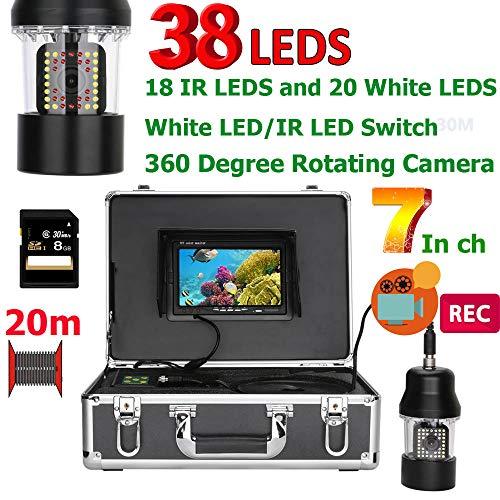 Preisvergleich Produktbild XUEM Fischfinder 360 Grad Rotationskamera 7 Zoll DVR Recorder 20m Unterwasserfischer IP68 Waterproof 38 LEDs