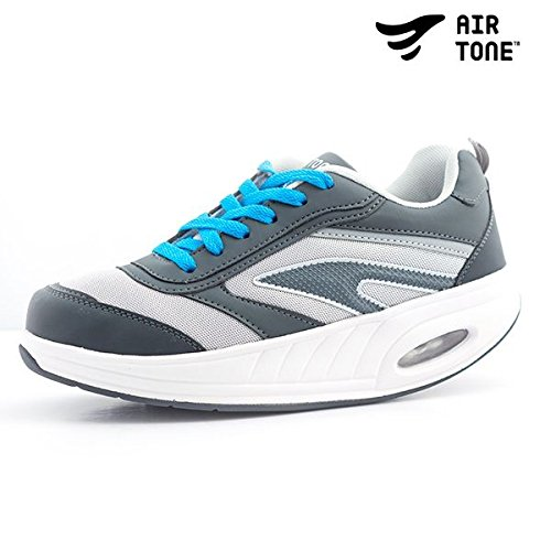 Apolyne Air Tone Zapatillas Deportivas Tonificantes, Unisex Adulto, Blanco/Gris, 40