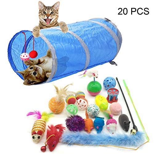 PietyPet Juguetes para Gatos, 20 Piezas Juguetes Gatos, Juguete Interactivo para Gatos...