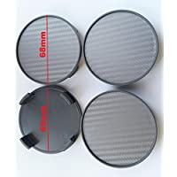 Carbon 4STK X 68mm Gris Buje tapas Tapacubos Llanta tapas cilindro de tapa–Apto para llantas con 64,5–65mm Diámetro interior de Lochs