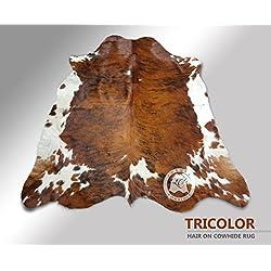 ALFOMBRA DE PIEL DE VACA Tricolor Exotico 180 x 210 cm – Calidad Premium de PIELES DEL SOL