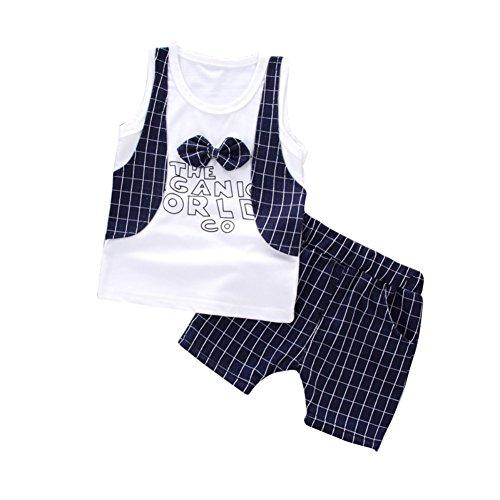 Neugeborene Kleinkind Boy Sommer Anzug formale Brithday Hochzeit Smoking Weste und Plaid kurze Kleidung für 6 Monate bis 3 Jahre alt (3 Stück Plaid-weste)