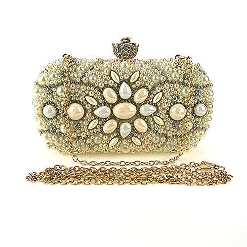 Yany Damen Abendtasche Querschnitt Quadrat Polyester Pearl Fashion Clutch Joker Lock Hard Shell Stripe Elegante One-Shoulder Party Bag Gold