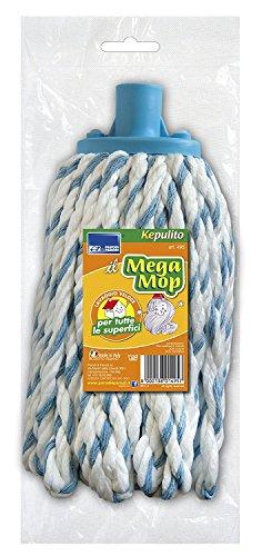 Parodi&parodi easy mop art.495 mocio universale per pulizia pavimenti adatto a tutte le superfici e adattabile a qualsiasi bastone utilizzato, adatto a parquet, piastrelle, ecc, in cotone bianco