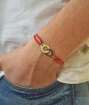Bracelet menottes en argent 925 sur cordon rouge