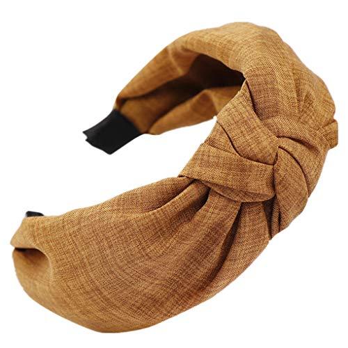Dorical Haarband Yoga Headband Hairband Damen Stoff Haarreif mit Schleife-Vintage-Wunderschön Stirnband,Haarschmuck Haarreif mit Schleife-Vintage-Wunderschön Stirnband (One Size, Z006-Khaki) -