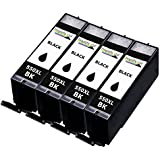 4 InaGiffy 550 XL BK Large Black Ink Cartridges Compatible With Canon Pixma iP7250 MG5650 MG6450 MX725 ...