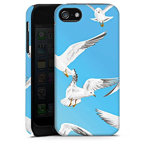 Apple iPhone 5s Housse Étui Protection Coque Oiseau Möve Oiseaux Cas Tough terne