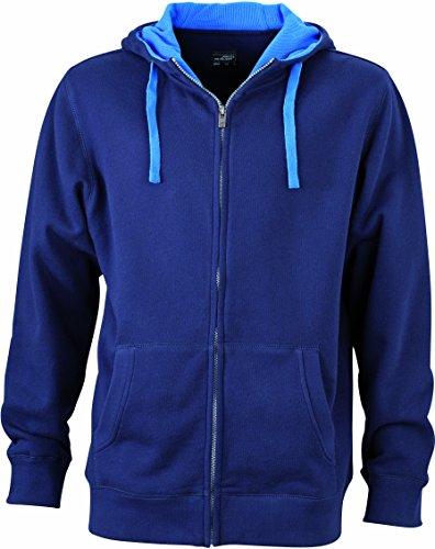 James & Nicholson Herren Lifestyle Zip-Hoody Sweatshirt Blau (Navy/Cobalt)