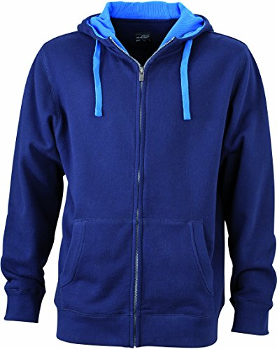 James & Nicholson Herren Lifestyle Zip-Hoody Sweatshirt, Blau (Navy/Cobalt), X-Large (Pullover Hoody Sweatshirt Blauer Navy)