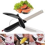 Clever Cutter 2 in 1 Food Chopper von ZAVF, Mehrzweck-Edelstahl-Messer mit Schneidebrett Eingebaut Für Schnelles Und Einfaches Schneiden Food Scissors Slicer