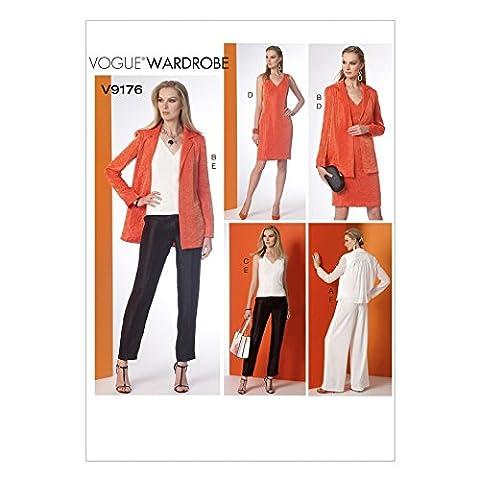 Vogue Patterns Mesdames Patron de Couture Facile 9176Collier encoche au dos Veste, Top, robe et pantalon + sans Minerva Crafts Craft Guide