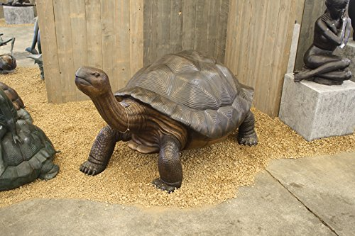 Sehr große Galapagos Schildkröte mit Wasserspeier aus Bronze