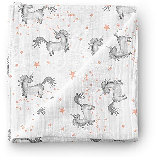 Manta de muselina para bebé Aenne Baby, Unicornio estrella rosa, Grande 120 x 120 cm, 1 pack, algodón de bambú sedoso lujoso y suave, regalo para bebé recién nacida