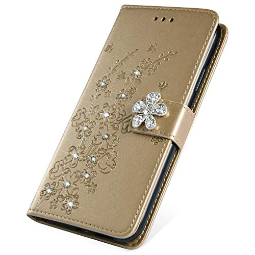 SainCat Kompatibel mit Nokia 3.1 2018 Hülle Pflaumenblüte Leder Flip Case Glitzer mit Bling Strass Diamant Schützhülle Stoßfest Handyhülle Weicher TPU Bookstyle PU Ledertasche-Gold Alle Nokia-flip-telefone