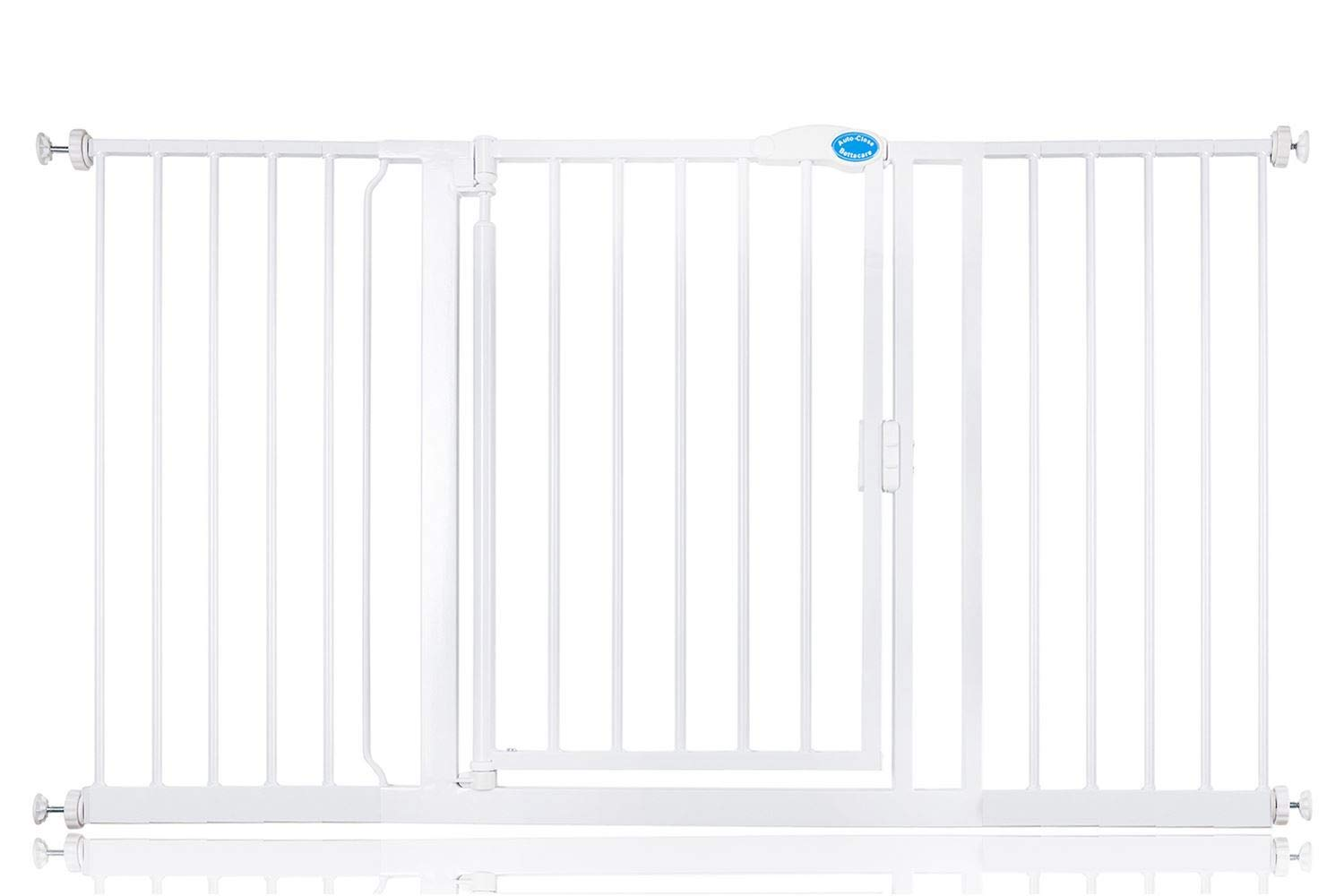 Bettacare Auto Close Pet Gate 75cm - 154cm Gate with Extensions (147cm - 154cm) Bettacare Pressure Fitted Two Way Opening (Widget on bottom bar can be adjusted to set gate opening towards or from user) Double Locking Mechanism 1