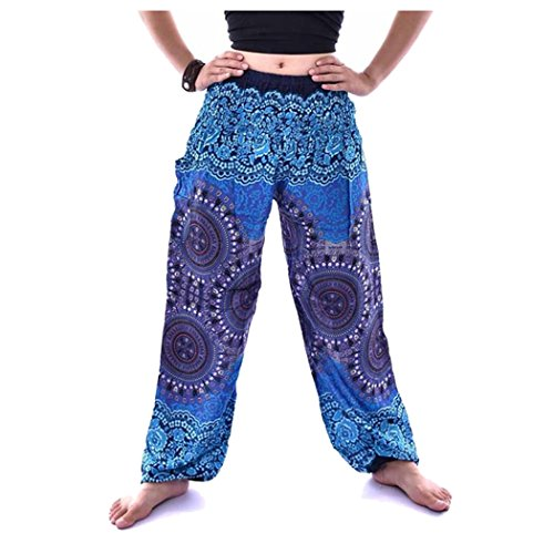 Fuibo Yoga Trousers Women 【Men Women Thai Harem Trousers Boho Yoga Trousers】【Festival Hippy Smock High Waist Print Loose Yoga Pants】 for Sport Yoga Trousers Women