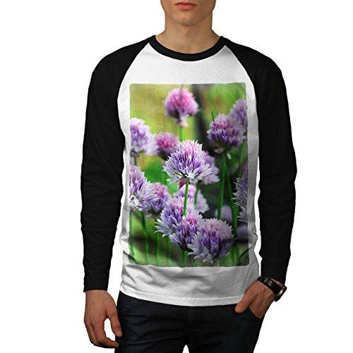 Klee Blume Wild Natur Natur Herren M Baseball lange Ärmel T-Shirt | Wellcoda (Licht-t-shirt Klee)