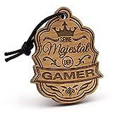 Fashionalarm Schlüsselanhänger Majestät Gamer aus Holz mit Gravur | Einzigartige Geschenk Idee Geburtstag Weihnachten Computer Spieler Gaming PC