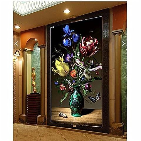 LWCX Home Decor Wall Paper 3D Wandbild Hd Pfingstrose Vase Malerei Hintergrund für Papel De Parede 3D Wallpaper für (Hd Weihnachten Wallpaper)